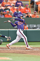 Clemson Tigers first baseman Andrew Cox (6) swings at a pitch during a game against the Notre Dame Fighting Irish at Doug Kingsmore Stadium on March 11, 2017 in Clemson, South Carolina. The Tigers defeated the Fighting Irish 6-5. (Tony Farlow/Four Seam Images)