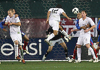 Jonathan Bornstein #12 of the USA heads in the tying goal against Costa Rica during a 2010 World Cup qualifying match in the CONCACAF region at RFK Stadium on October 14 2009, in Washington D.C.The match ended in a 2-2 tie.
