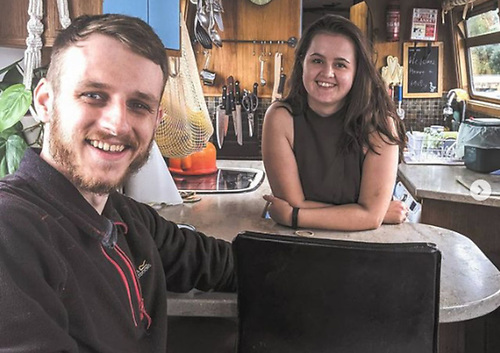 Josh Boyd and Sophie Durand on their narrowboat Qisma