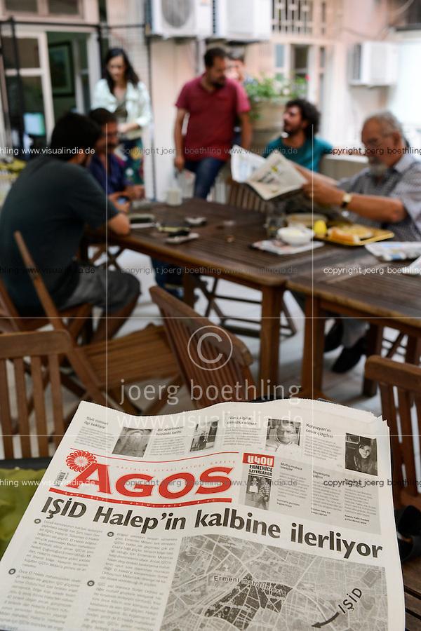 TURKEY Istanbul, editing office of armenian turkish weekly bilingual newspaper Agos, a armenian word which means furrow, Agos was founded by editor Hrant Dink in 1996 who was murdered 2007 in front of the building / TUERKEI Istanbul, Redaktionsbuero der armenisch tuerkischen Wochenzeitung Agos, was in armenisch Furche bedeutet, sie wurde 1996 u.a. von Hrant Dink gegruendet, Hrant Dink fiel 2007 vor dem Buerohaus einem Attentat zum Opfer - MORE IMAGES AVAILABLE!   |