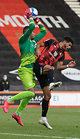 Bournemouth's Dominic Solanke (right) battles for possession with Queens Park Rangers' Seny Dieng (left) <br /> <br /> Photographer David Horton/CameraSport<br /> <br /> The EFL Sky Bet Championship - Bournemouth v Queens Park Rangers - Saturday 17th October 2020 - Vitality Stadium - Bournemouth<br /> <br /> World Copyright © 2020 CameraSport. All rights reserved. 43 Linden Ave. Countesthorpe. Leicester. England. LE8 5PG - Tel: +44 (0) 116 277 4147 - admin@camerasport.com - www.camerasport.com