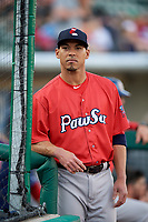 Pawtucket Red Sox Ivan De Jesus Jr. (13) during a game against the Rochester Red Wings on May 19, 2018 at Frontier Field in Rochester, New York.  Rochester defeated Pawtucket 2-1.  (Mike Janes/Four Seam Images)