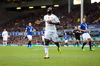 Liverpool, UK. Saturday 01 November 2014<br /> Pictured: A frustrated Wilfried Bony of Swansea after his shot goes wide.<br /> Re: Premier League Everton v Swansea City FC at Goodison Park, Liverpool, Merseyside, UK.