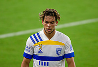LOS ANGELES, CA - SEPTEMBER 02: Cade Cowell #44 of the San Jose Earthquakes during a game between San Jose Earthquakes and Los Angeles FC at Banc of California stadium on September 02, 2020 in Los Angeles, California.