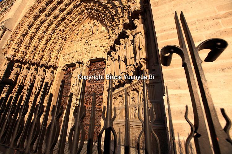 The last judgement portal of Notre Dame cathedral. city of Paris. Paris. France