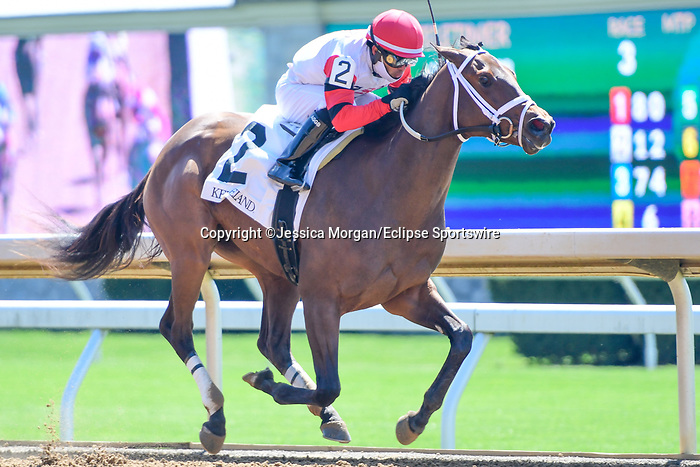 April 02, 2021: American Bound #2, ridden by Luis Saez wins the third race, a maiden special weight for two-year-old fillies on Keeneland Opening Day at Keeneland Race Course in Lexington, Kentucky on April 02, 2021. Jessica Morgan/Eclipse Sportswire/CSM
