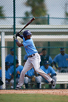 Tampa Bay Rays Osmy Gregorio (76) at bat during an Instructional League game against the Pittsburgh Pirates on October 3, 2017 at Pirate City in Bradenton, Florida.  (Mike Janes/Four Seam Images)
