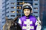 Jockey Jack Wong Ho-nam riding #9 Almababy celebrates after winning race 10 during Hong Kong Racing at Happy Valley Racecourse on October 28, 2018 in Hong Kong, Hong Kong. Photo by Yu Chun Christopher Wong / Power Sport Images