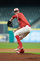 Houston Cougars starting pitcher Ryan Randel (31) in action against the Vanderbilt Commodores during game nine of the 2018 Shriners Hospitals for Children College Classic at Minute Maid Park on March 3, 2018 in Houston, Texas. The Commodores defeated the Cougars 9-4. (Brian Westerholt/Four Seam Images)