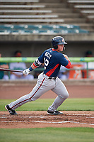 Potomac Nationals catcher Jakson Reetz (12) follows through on a swing during the first game of a doubleheader against the Lynchburg Hillcats on June 9, 2018 at Calvin Falwell Field in Lynchburg, Virginia.  Lynchburg defeated Potomac 5-3.  (Mike Janes/Four Seam Images)