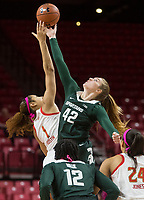 COLLEGE PARK, MD - FEBRUARY 03: Shakira Austin #1 of Maryland and Kayla Belles #42 of Michigan State at the tip off during a game between Michigan State and Maryland at Xfinity Center on February 03, 2020 in College Park, Maryland.