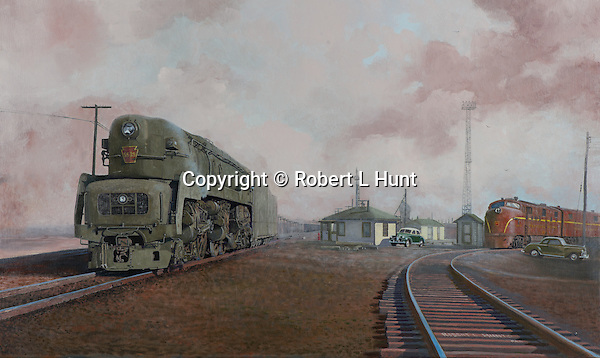 """A T1 steam locomotive of the Pennsylvania Railroad waiting on a hot August day in the East St Louis yard, circa 1952. Oil on canvas, 18"""" x 30""""."""