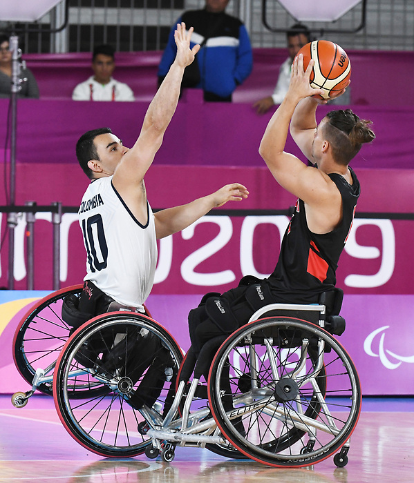 Nik Goncin, Lima 2019 - Wheelchair Basketball // Basketball en fauteuil roulant.<br /> Men's wheelchair basketball competes against Columbia // Le basketball en fauteuil roulant masculin contre Colombie. 25/08/2019.
