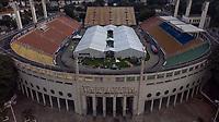 SAO PAULO, SP, 27/03/2020 - Coronavirus Hospital de Campanha -SP- Vista aerea feita de drone, onde o Governador Joao Doria e o Prefeito Bruno Covas vistoriam as obras de instalacao do hospital de campanha, no estadio do Pacaembu em Sao Paulo, SP, nesta sexta-feira (27). (Foto: Marivaldo Oliveira/Codigo 19/Codigo 19)