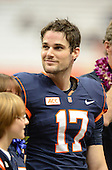 Quarterback Charley Loeb (17) during senior recognition before a game against the Boston College Eagles at the Carrier Dome on November 30, 2013 in Syracuse, New York.  Syracuse defeated Boston College 34-31.  (Copyright Mike Janes Photography)