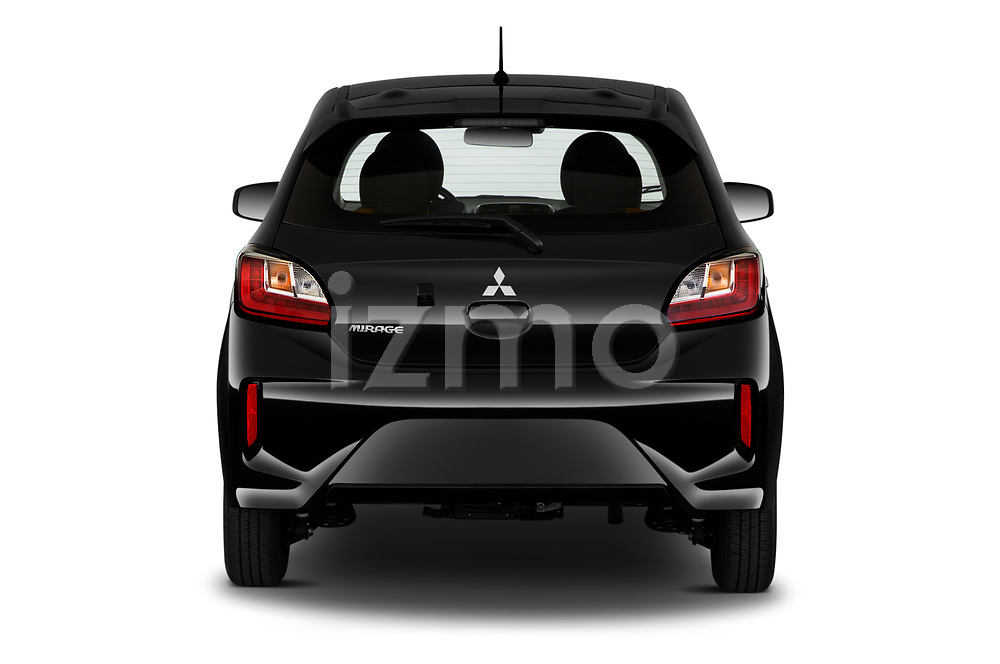Straight rear view of 2021 Mitsubishi Mirage ES 5 Door Hatchback Rear View  stock images