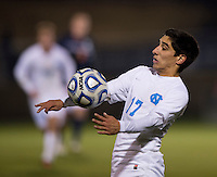 Danny Garcia (17) of North Carolina controls the ball during the game at the Maryland SoccerPlex in Germantown, MD. North Carolina defeated Virginia on penalty kicks after playing to a 0-0 tie in regulation time.  With the win the Tarheels advanced to the finals of the ACC men's soccer tournament.