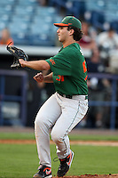"""Miami Hurricanes Javis Salas #51 during a game vs. the University of South Florida Bulls in the """"Florida Four"""" at George M. Steinbrenner Field in Tampa, Florida;  March 1, 2011.  USF defeated Miami 4-2.  Photo By Mike Janes/Four Seam Images"""