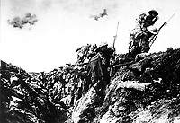 """Canadian troops going """"over the top"""" during training near St. Pol, France, October 1916.  Lt. Ivor Castle.  Canadian Official. (Army)<br />Exact Date Shot Unknown<br />NARA FILE #:  111-SC-107<br />WAR & CONFLICT BOOK #:  635"""