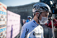 Giacomo Nizzolo (ITA/Qhubeka ASSOS) wearing an #MSR themed helmet at the race start (early in the morning) in Milan<br /> <br /> 112th Milano-Sanremo 2021 (1.UWT)<br /> 1 day race from Milan to Sanremo (299km)<br /> <br /> ©kramon
