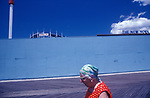 Coney Island New Jersey USA  1970s. . Woman in white frame sun glasses. The New York Aquarium.