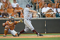 Arizona State Sun Devil designated hitter Joey DeMichele #18 swings against the Texas Longhorns in NCAA Tournament Super Regional baseball on June 10, 2011 at Disch Falk Field in Austin, Texas. (Photo by Andrew Woolley / Four Seam Images)