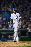 Chicago Cubs pitcher Pedro Strop (46) in the eighth inning during Game 3 of the Major League Baseball World Series against the Cleveland Indians on October 28, 2016 at Wrigley Field in Chicago, Illinois.  (Mike Janes/Four Seam Images)
