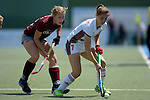 GER - Mannheim, Germany, June 04: During the Final4 semi-final Damen hockey match between Muenchner SC (red) and Rot-Weiss Koeln(white) on June 4, 2016 at Mannheimer HC in Mannheim, Germany. Final score 0-1 (HT 0-0). (Photo by Dirk Markgraf / www.265-images.com) *** Local caption *** Lea Stoeckel #7 of Rot-Weiss Koeln