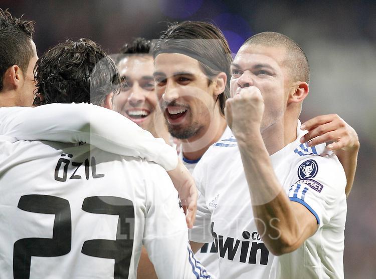 Real Madrid's Pepe celebrates with Sami Khedira during UEFA Champions League match. October 19, 2010. (ALTERPHOTOS/Alvaro Hernandez)