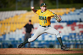 Siena Saints relief pitcher Dylan D'Anna (30) delivers a pitch during a game against the Pittsburgh Panthers on February 24, 2017 at Historic Dodgertown in Vero Beach, Florida.  Pittsburgh defeated Siena 8-2.  (Mike Janes/Four Seam Images)