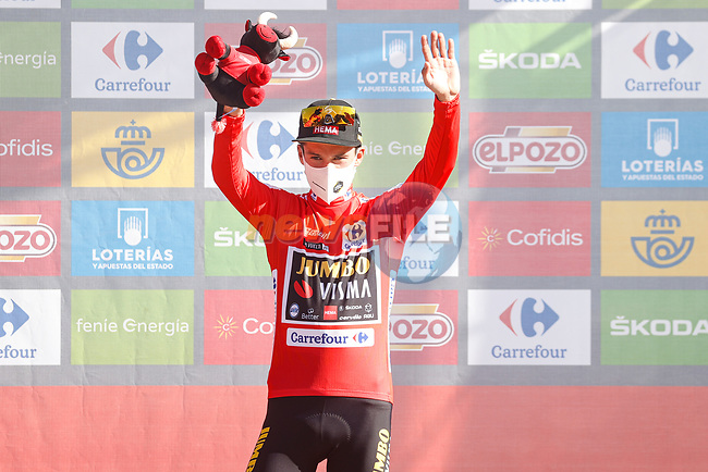 Primoz Roglic (SLO) Jumbo-Visma retakes the race leaders Red Jersey at the end of Stage 7 of La Vuelta d'Espana 2021, running 152km from Gandia to Balcon de Alicante, Spain. 20th August 2021.     <br /> Picture: Luis Angel Gomez/Photogomezsport | Cyclefile<br /> <br /> All photos usage must carry mandatory copyright credit (© Cyclefile | Luis Angel Gomez/Photogomezsport)
