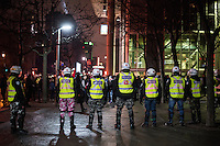 Montreal,CANADA, April 6, 1015.<br /> <br /> A night demonstration againts neo-liberalism<br /> was declared illegal by Montreal Police at 9:16 PM for failling to provide an ittinerary.<br /> <br /> PHOTO : Philippe Manh Nguyen - Quebec Presse