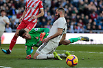 Real Madrid's Karim Benzema and Girona FC's Yassine Bounou 'Bono' during La Liga match between Real Madrid and Girona FC at Santiago Bernabeu Stadium in Madrid, Spain. February 17, 2019. (ALTERPHOTOS/A. Perez Meca)