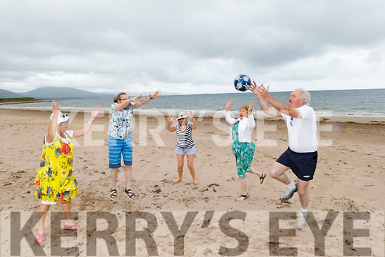 Members of the Tralee Toastmasters Club enjoying their beach Staycation on Derrymore beach on Tuesday. <br />  L to r: Lily Tangney, Sergey Udaltsov, Sonya Elston,  Aine Quinn and John McGillicuddy