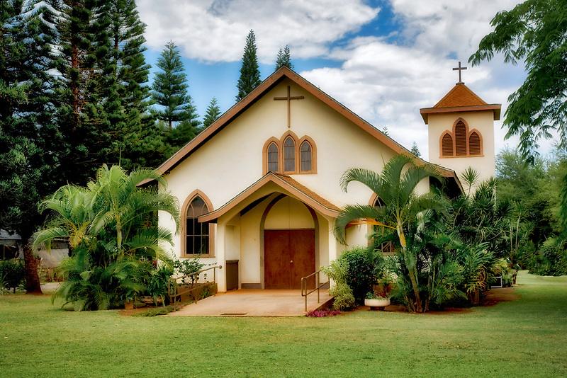 Waimea Sacred Hearts of Jesus and Mary Mission Church. Waimea., Kauai, Hawaii