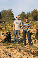 Agnes Henry-Hocquard, owner and responsible for the wines and the winemaker and dog Domaine de la Tour du Bon Le Castellet Bandol Var Cote d'Azur France
