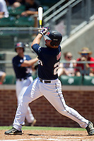 Designated Hitter Sikes Orvis #24 of the Ole Miss Rebels swings during the NCAA Regional baseball game against the Texas Christian University Horned Frogs on June 1, 2012 at Blue Bell Park in College Station, Texas. Ole Miss defeated TCU 6-2. (Andrew Woolley/Four Seam Images).