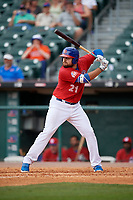 Buffalo Bisons first baseman Rowdy Tellez (21) bats during a game against the Indianapolis Indians on August 17, 2017 at Coca-Cola Field in Buffalo, New York.  Buffalo defeated Indianapolis 4-1.  (Mike Janes/Four Seam Images)