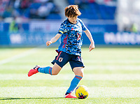 HARRISON, NJ - MARCH 08: Asato Miyagawa #16 of Japan passes the ball during a game between England and Japan at Red Bull Arena on March 08, 2020 in Harrison, New Jersey.
