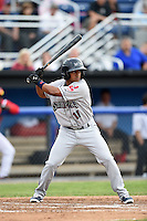 Mahoning Valley Scrappers second baseman Ordomar Valdez (11) at bat during a game against the Batavia Muckdogs on June 20, 2014 at Dwyer Stadium in Batavia, New York.  Batavia defeated Mahoning Valley 7-4.  (Mike Janes/Four Seam Images)