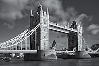 Tower Bridge over the river Thames with the gherkin (30 St Mary Axe) in the background, London, England