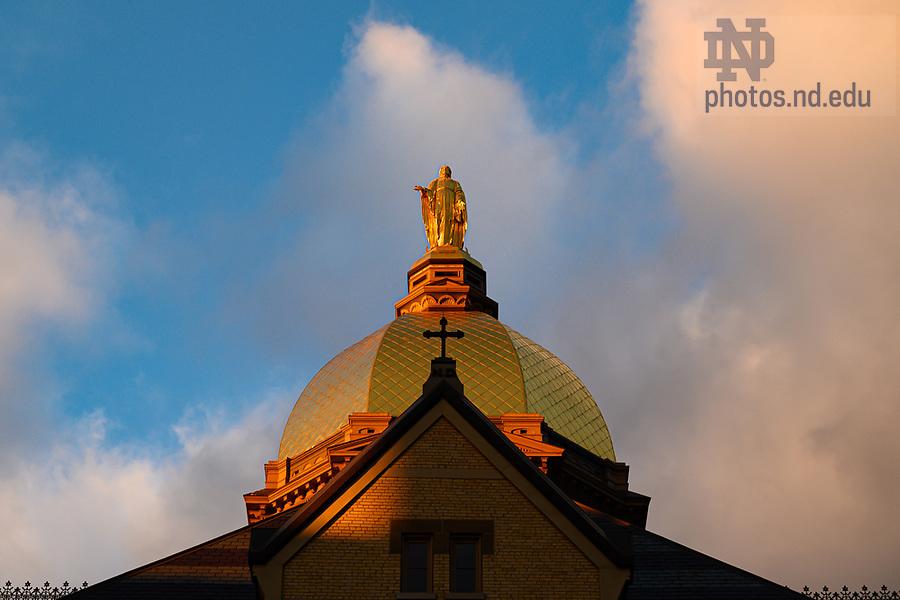 December 4, 2019; Main Building at sunset (Photo by Matt Cashore/University of Notre Dame)