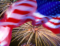Flag with fireworks.