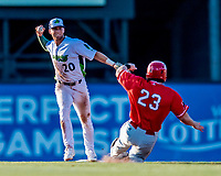 29 July 2018: Vermont Lake Monsters infielder Max Schuemann gets a force at second but is unable to complete the double-play against the Batavia Muckdogs at Centennial Field in Burlington, Vermont. The Lake Monsters defeated the Muck Dogs 4-1 in NY Penn League action. Mandatory Credit: Ed Wolfstein Photo *** RAW (NEF) Image File Available ***