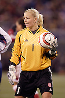 """Denmark's goalkeeper Tine Cederkvist. The US Women's National Team tied the Denmark Women's National Team 1 to 1 during game 8 of the 10 game the """"Fan Celebration Tour"""" at Giant's Stadium, East Rutherford, NJ, on Wednesday, November 3, 2004.."""
