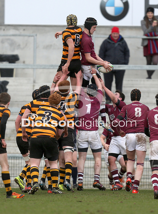 CAI vs RBAI   Tuesday 3rd March 2015<br /> <br /> Jack McCarroll secures this lineout during the 2015 Ulster Schools Cup Semi-Final between Coleraine Inst and RBAI at the Kingspan Stadium, Ravenhill Park, Belfast, Northern Ireland.<br /> <br /> Picture credit: John Dickson / DICKSONDIGITAL