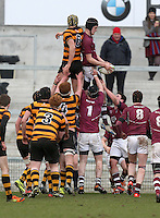 CAI vs RBAI | Tuesday 3rd March 2015<br /> <br /> Jack McCarroll secures this lineout during the 2015 Ulster Schools Cup Semi-Final between Coleraine Inst and RBAI at the Kingspan Stadium, Ravenhill Park, Belfast, Northern Ireland.<br /> <br /> Picture credit: John Dickson / DICKSONDIGITAL