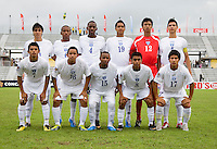 Honduras lines up before the group stage of the CONCACAF Men's Under 17 Championship at Catherine Hall Stadium in Montego Bay, Jamaica. Honduras defeated Barbados, 2-1.