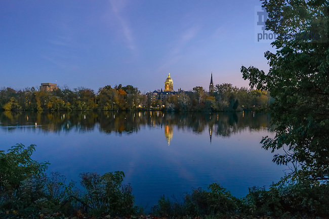 Oct. 15, 2012; St. Joseph Lake, Library, Dome and Basilica...Photo by Matt Cashore/University of Notre Dame