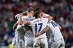 Alvaro Morata of Real Madrid celebrates with teammates during their 2016-17 UEFA Champions League match between Real Madrid vs Sporting Portugal at the Santiago Bernabeu Stadium on 14 September 2016 in Madrid, Spain. Photo by Diego Gonzalez Souto / Power Sport Images